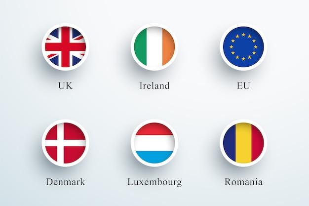 Conjunto de ícones de bandeira redonda reino unido irlanda ue dinamarca