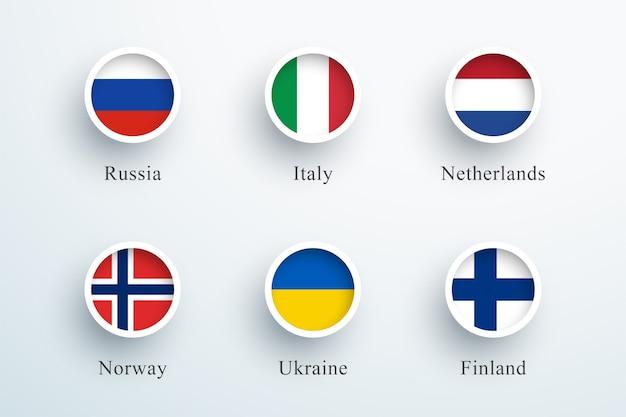 Conjunto de ícones de bandeira redonda rússia itália holanda