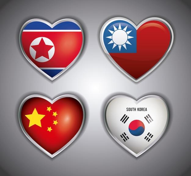 Conjunto de ícones de bandeiras asiáticas em formas de coração