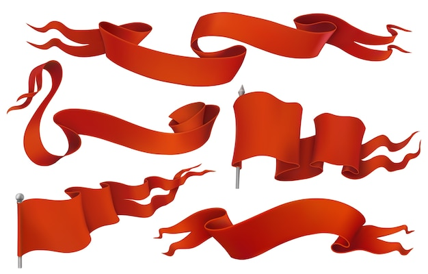 Conjunto de ícones de bandeiras e fitas vermelhas