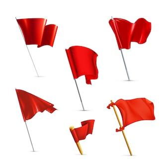 Conjunto de ícones de bandeiras vermelhas