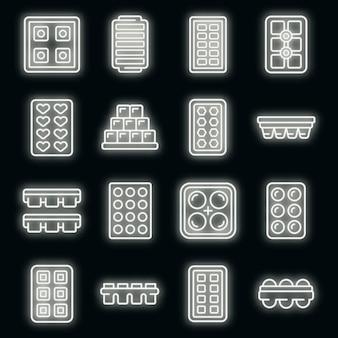 Conjunto de ícones de bandejas de cubo de gelo. conjunto de contornos de bandejas de cubos de gelo, ícones vetoriais, cor neon no preto