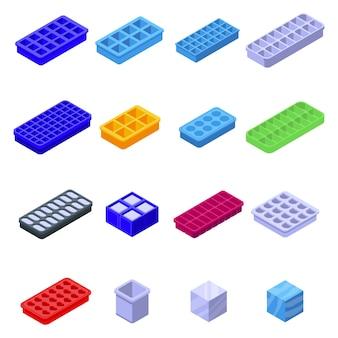 Conjunto de ícones de bandejas de cubo de gelo.