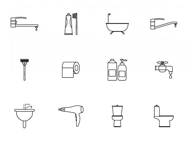 Conjunto de ícones de banheiro de contorno