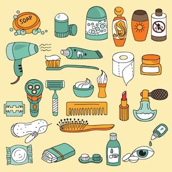 Conjunto de ícones de banheiro e beleza