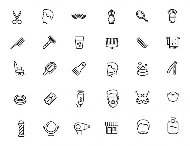 Conjunto de ícones de barbearia linear