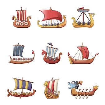 Conjunto de ícones de barco drakkar de barco viking