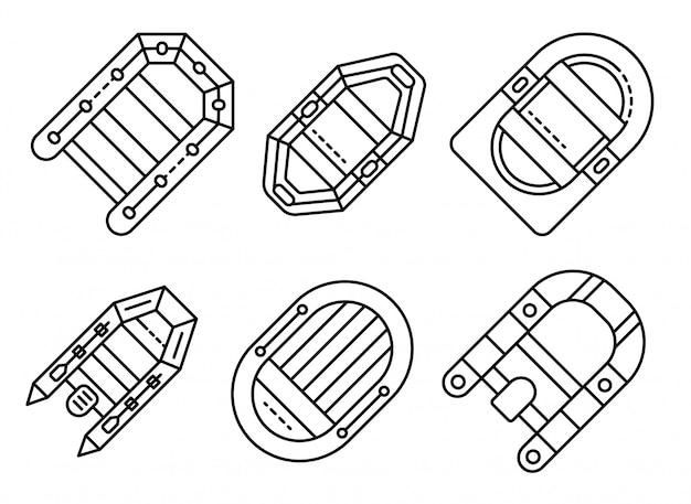 Conjunto de ícones de barco inflável, estilo de estrutura de tópicos
