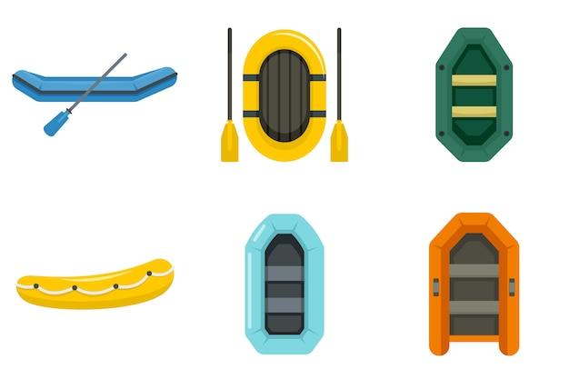 Conjunto de ícones de barco inflável