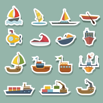 Conjunto de ícones de barcos e navios