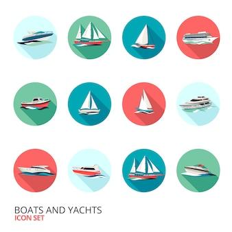 Conjunto de ícones de barcos