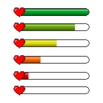 Conjunto de ícones de barra de vida de coração de saúde de 8 bits de jogo de pixel. controlador de jogo