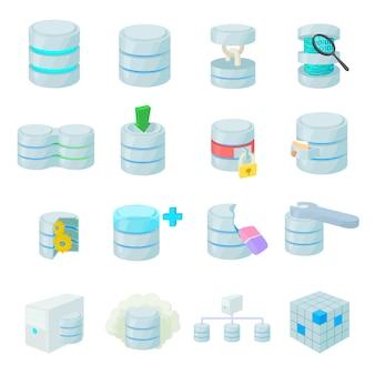 Conjunto de ícones de base de dados em estilo cartoon isolado