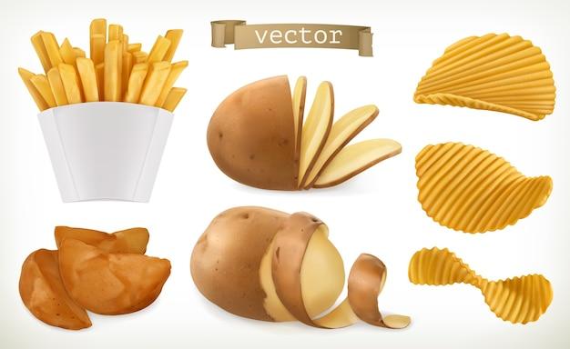Conjunto de ícones de batata, fatias e batatas fritas