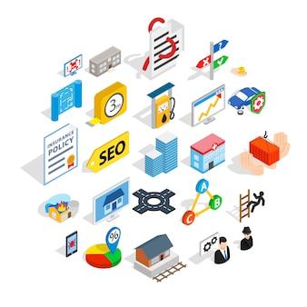 Conjunto de ícones de bate-papo on-line, estilo isométrico