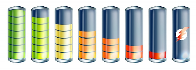 Conjunto de ícones de bateria 3d realistas