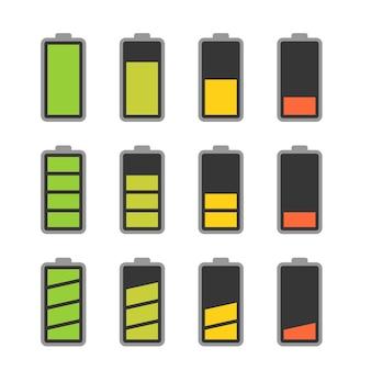 Conjunto de ícones de bateria com indicadores coloridos de nível de carga