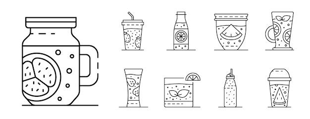 Conjunto de ícones de batido, estilo de estrutura de tópicos
