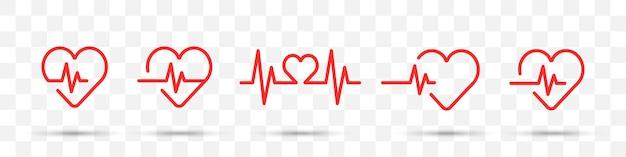 Conjunto de ícones de batimento cardíaco vermelho em um fundo transparente