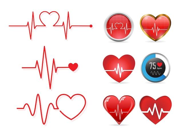 Conjunto de ícones de batimento cardíaco
