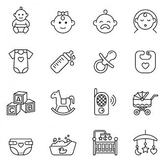 Conjunto de ícones de bebê, alimentação e cuidados. estoque de estilo de linha