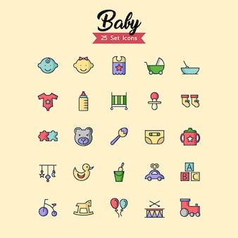 Conjunto de ícones de bebê cheio de estilo de contorno