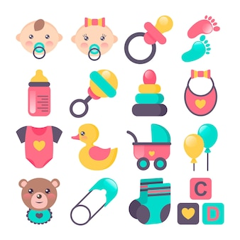 Conjunto de ícones de bebê em estilo plano