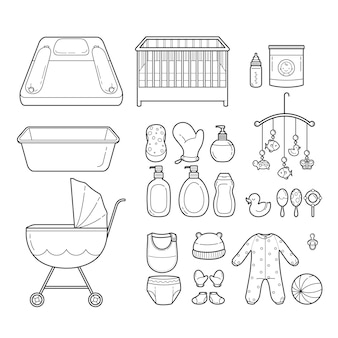 Conjunto de ícones de bebê, ícones de contorno, equipamentos para bebês