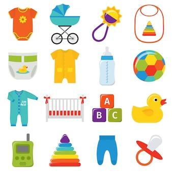 Conjunto de ícones de bebê. ilustração.