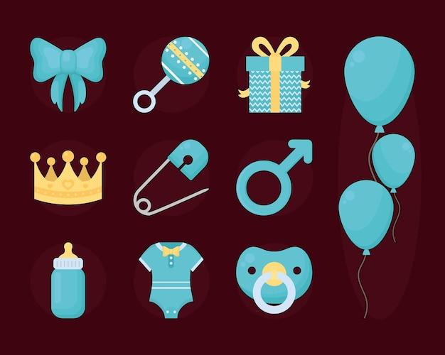 Conjunto de ícones de bebê masculino