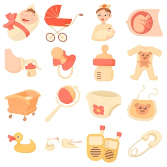 Conjunto de ícones de bebê nascido