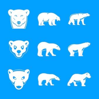 Conjunto de ícones de bebê urso polar, estilo simples