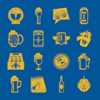 Conjunto de ícones de bebida de cerveja