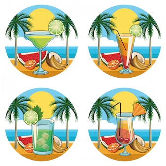 Conjunto de ícones de bebidas cocktail tropical
