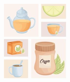 Conjunto de ícones de bebidas doces matinais