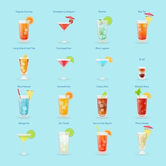 Conjunto de ícones de bebidas e coquetéis de álcool, coquetéis populares, ilustração isolada