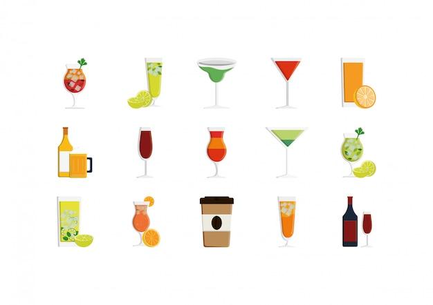 Conjunto de ícones de bebidas isoladas vector design