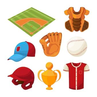Conjunto de ícones de beisebol dos desenhos animados isolado no branco