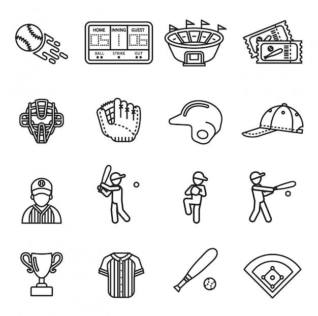 Conjunto de ícones de beisebol.