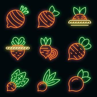 Conjunto de ícones de beterraba. conjunto de contorno de ícones de vetor de beterraba, cor de néon no preto