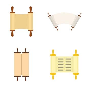 Conjunto de ícones de bíblia de livro de rolagem torá