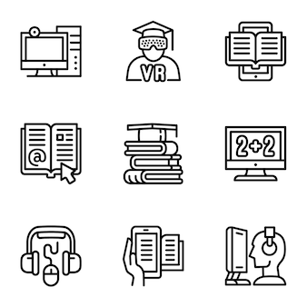 Conjunto de ícones de biblioteca da web, estilo de estrutura de tópicos