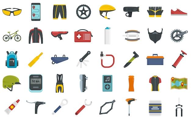Conjunto de ícones de bicicleta de montanha