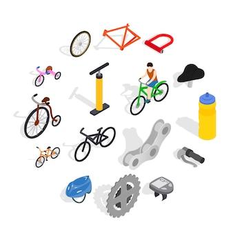 Conjunto de ícones de bicicleta, estilo isométrico