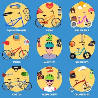 Conjunto de ícones de bicicleta