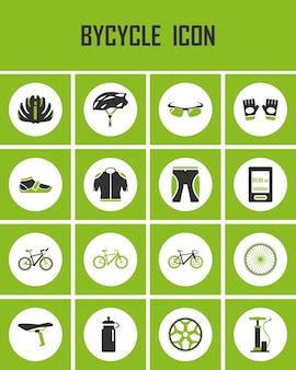 Conjunto de ícones de bicicleta.