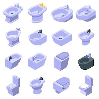 Conjunto de ícones de bidê, estilo isométrico