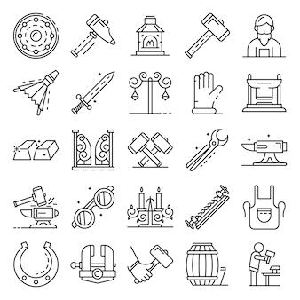 Conjunto de ícones de bigorna. conjunto de contorno de ícones do vetor de bigorna