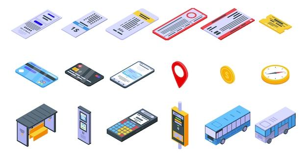 Conjunto de ícones de bilhetes de ônibus, estilo isométrico