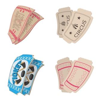 Conjunto de ícones de bilhetes em estilo cartoon isolado